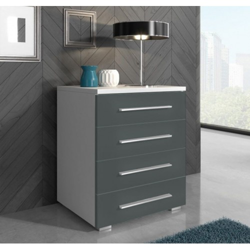 Cabinet with drawers 50 cm / white + gray high gloss