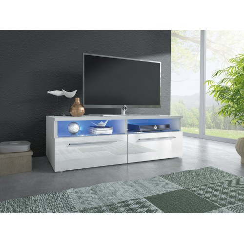 TV Cabinet with LED lighting / white + white high gloss
