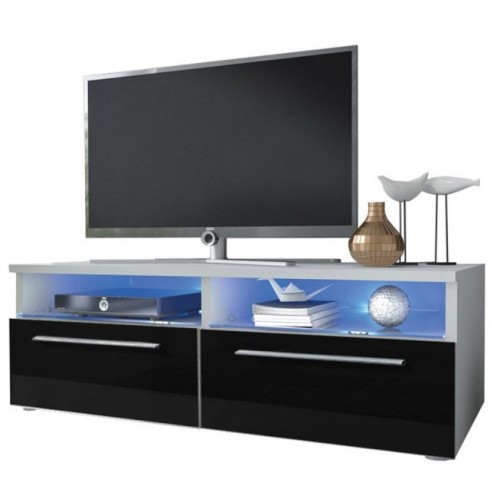 TV Cabinet with LED lighting / white + black high gloss