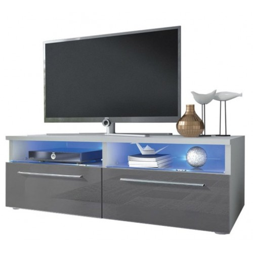 TV Cabinet with LED lighting / white + gray high gloss