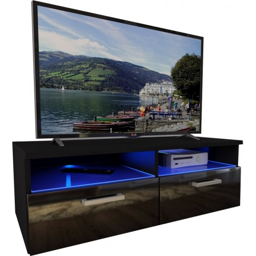 TV Cabinet with LED lighting / black + black high gloss