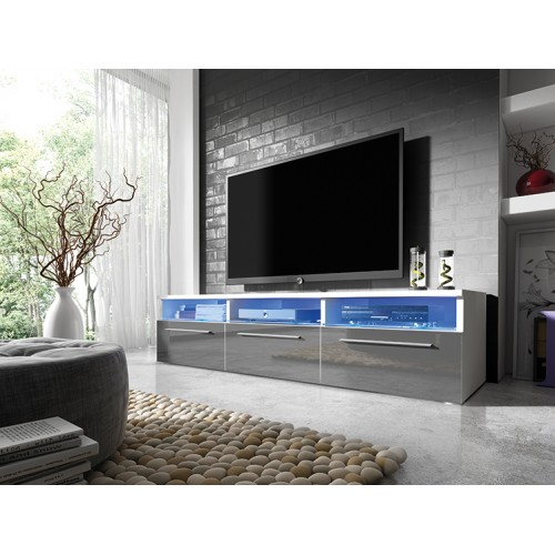 TV Cabinet with LED lighting 150 cm / white + gray high gloss