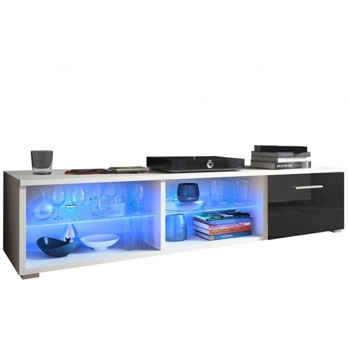 TV Cabinet with LED lighting 150 cm / white + black high gloss