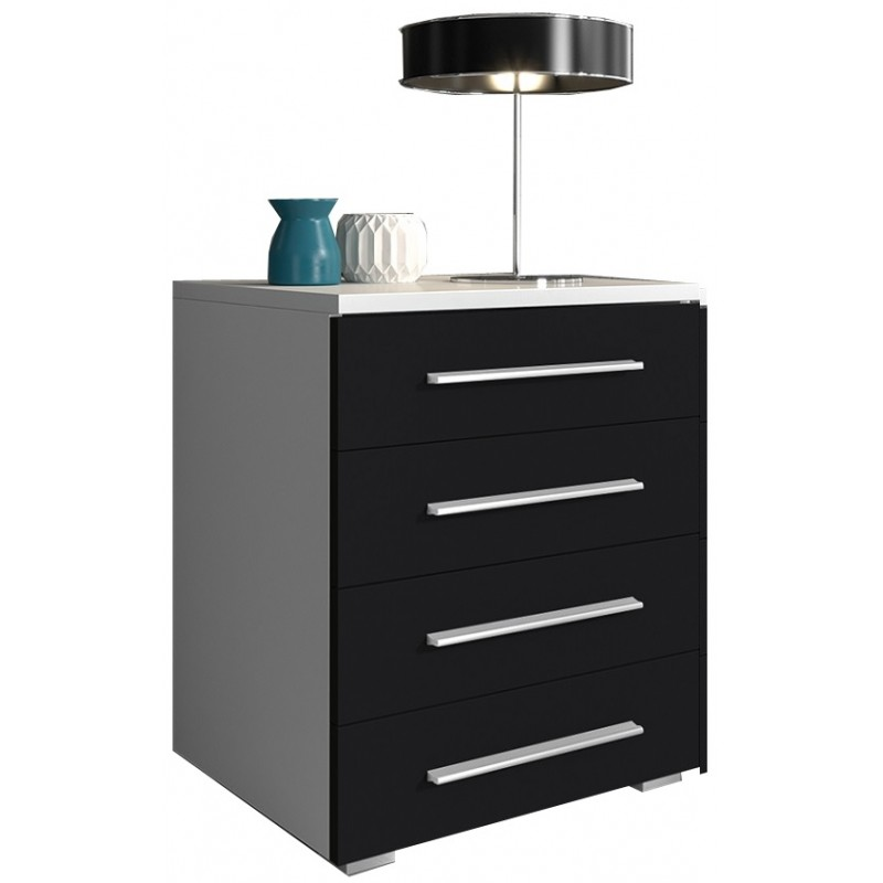 Cabinet with drawers 50 cm / white + black high gloss