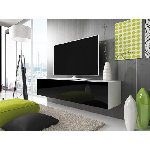 TV Cabinet with LED lighting 150 cm / white + black high gloss