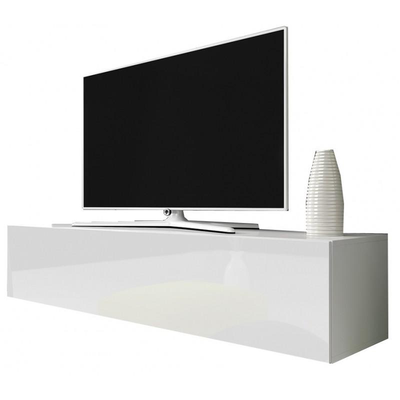 best website d83fe 93ae8 TV Cabinet with LED lighting 150 cm / white + black high gloss