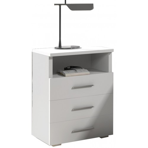 Cabinet with drawers 50 cm / white + white high gloss