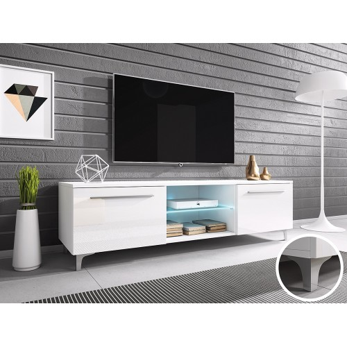 TV Cabinet with LED lighting 150 cm / white + white high gloss