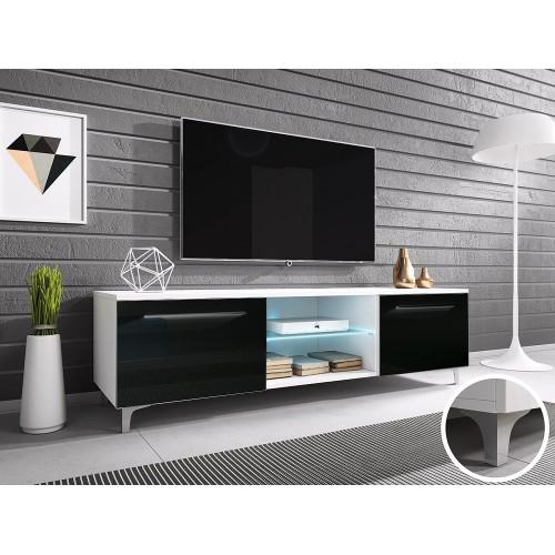 TV Cabinet with LED lighting 150 cm / white + white high gloss